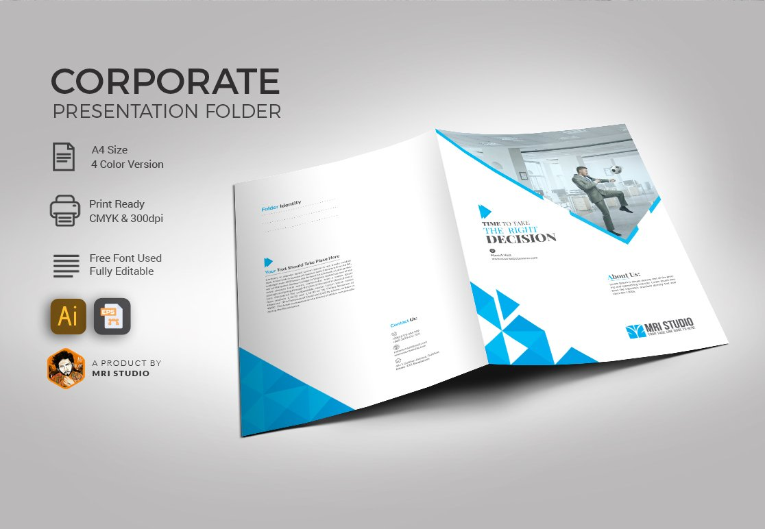 Presentation folder template stationery templates for Pocket folder template illustrator