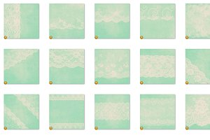 Ivory and Mint Green Lace Textures
