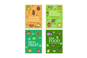 Vegan Food Flyer Banner Card Set