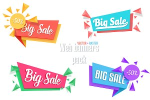 Big Sale Vector Banners Sticker Pack