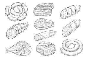 Vector sketch icons of butchery meat products