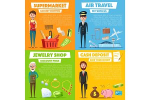 Vector posters of shopping, jewelry and air travel
