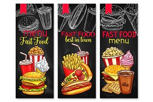Vector menu price banners for fast food meals