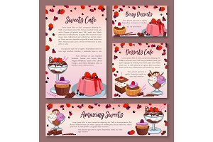Pastry design templates set of dessert cakes