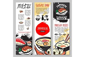 Vector banners set for sushi or seafood restaurant