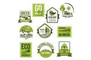 Vector icons set for nature ecology environment