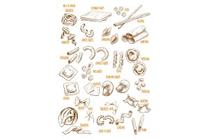 Vector sketch icons set of Italian pasta variety