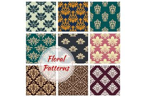 Patterns set of vector floral seamless ornament