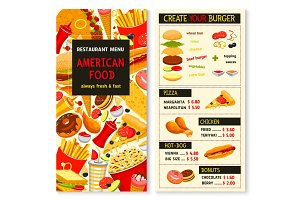Vector menu for fast food meals, snacks and drinks