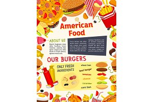 Vector fast food meals, snacks and drinks poster