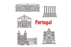 Architecture Portugal landmark vector buildings