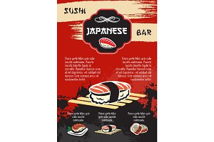 Vector sushi or seafood restaurant menu poster