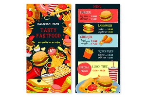 Vector fast food menu poster