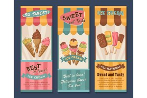 Vector banners of Ice cream for cafe