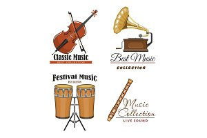 Vector icons set for best classic music concert