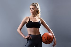 Beautiful woman basketball player
