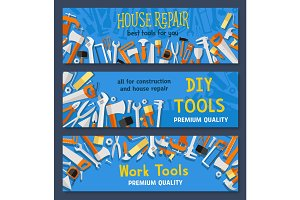 House repair work tools vector banners set