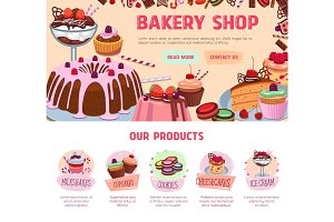 Vector landing page for bakery shop desserts