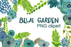 Clipart Flowers blue garden