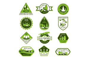 Vector icons set eco nature ecology company