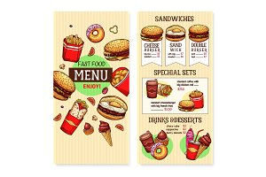 Vector fast food burgers menu template