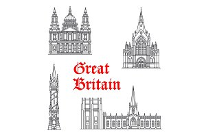 Architecture Great Britain vector landmarks