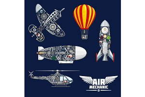 Air mechanics and mechanisms vector icons set