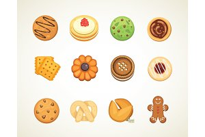Different cookie cakes top view sweet food isolated on white background vector illustration