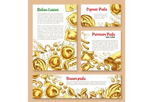 Vector templates set for pasta of Italian cuisine
