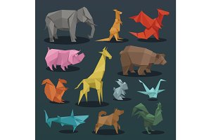 Animals origami set of wild animals creative decoration vector illustration.