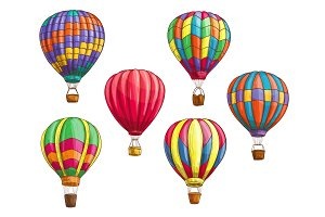 Vector icons of hot air balloons sketch pattern