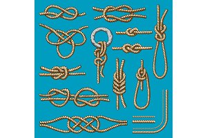 Different sea boat knots scheme vector set illustration isolated on background