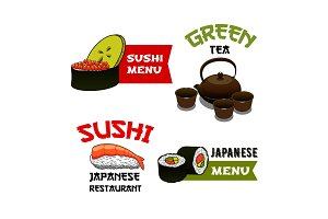 Vector icons of sushi for Japanese restaurant menu