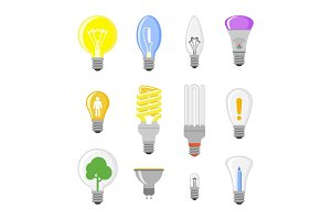 Cartoon lamp light bulb design flat vector illustration electric idea bright graphic solution concept.