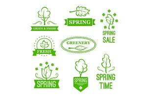 Vector icons of green nature trees for spring sale