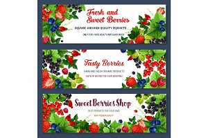 Vector fresh sweet berries on banners