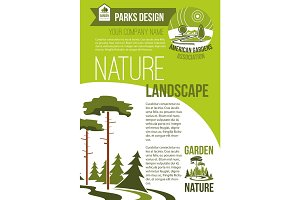Vector poster of green nature landscaping company