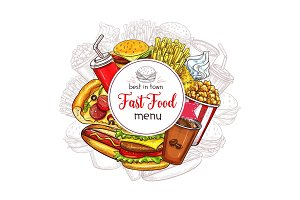 Vector fast food menu for fastfood restaurant