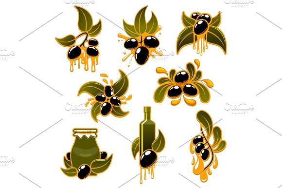 Vector Green And Black Olives And Olive Oil Icons