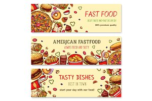 Vector fast food banners set for restaurant