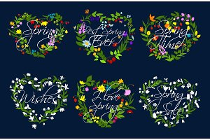 Vector hearts wreath of flowers for spring time