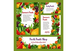 Fresh fruits cards and posters