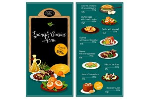 Vector menu for Spanish cuisine restaurant
