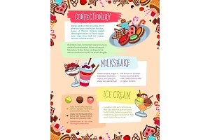 Vector poster for confectionery or bakery shop