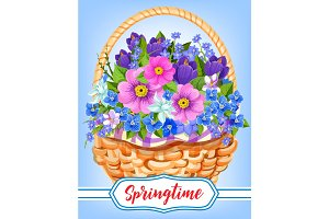Springtime garden flowers in basket