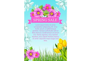 Vector poster with flowers for spring sale