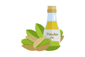 Pistachio Oil Vector Illustration in Flat Design.