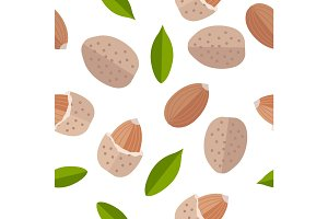 Almond Nuts Seamless Pattern Vector in Flat Design.