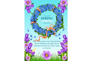 Vector spring greeting card wishes and flowers