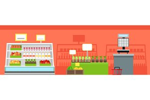 Grocery Shop Interior Concept Vector Illustration.
